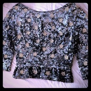 Tops - Vintage sequined and pearl top.
